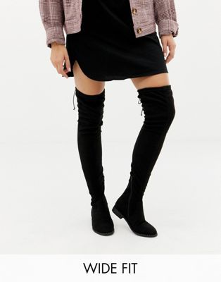 look for half price lower price with DESIGN Wide Fit Extra Wide Leg kaska flat studded thigh high boots ...