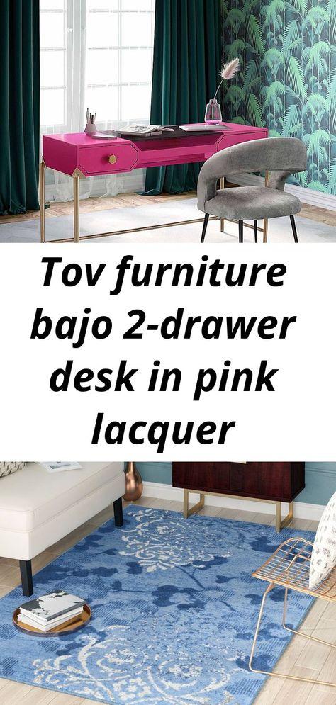 Tov furniture bajo 2-drawer desk in pink lacquer