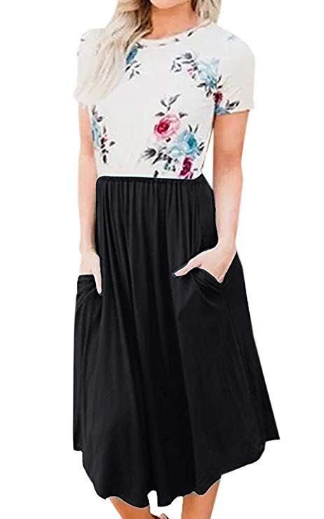 Ecowish Damen Kleid A Linie Sommerkleider Rundhals Kurzarm Blumendruck Partykleid Strandkleider Knielang Mit Taschen Y036schwa Patchwork Kleid Kleider Modestil