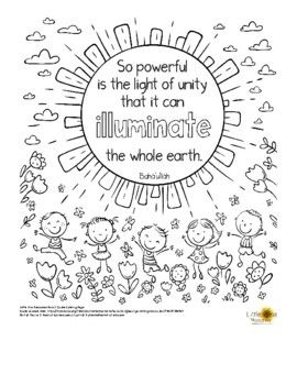Single Black And White Printable Coloring Page Poster With The Quote So Powerful Is The Light Of Unity That It Quote Coloring Pages Unity Quotes Bahai Quotes