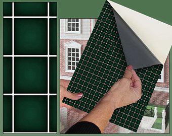 Dolls House Wallpaper Self Adhesive 1 12th Scale Vinyl Sheet Etsy Doll House Wallpaper Home Wallpaper Dark Green Walls