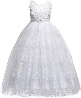 Amazon Com Girls Dresses 13 14 Years Dresses Wedding Dresses For Kids White Flower Girl Dresses