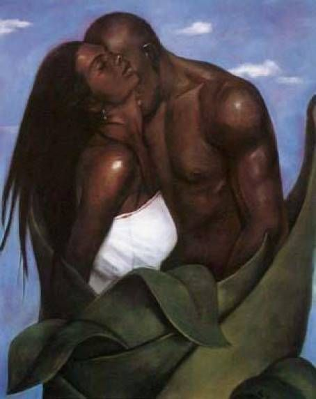 black man and woman in love art