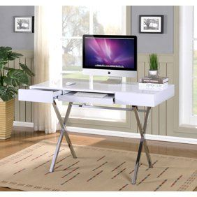 Monarch Computer Desk 48 L Glossy White Chrome Metal Walmart Com In 2020 Home Office Furniture Home Office Desks Contemporary Computer Desk