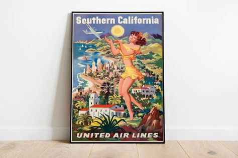 Southern California (United Airlines, Late 1940s // Advertising Poster // Vintage Travel Posters