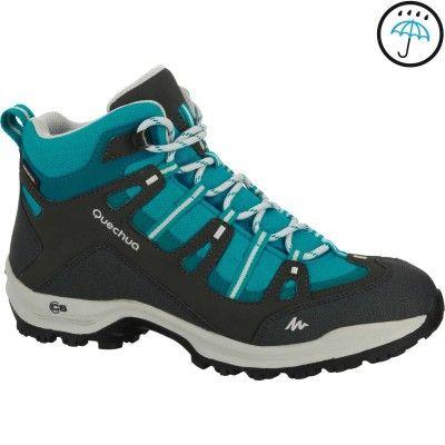 b7208ff595ce Hiking_Nature Wandern, Trekking - Wanderschuhe Arpenaz 100 Mid Novadry  Damen grau/blau QUECHUA - Wandern Damen