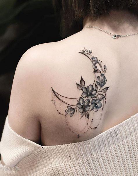Moon & Flowers Tattoo – Mond & Blumen Tattoo – This image has get. Tattoo Girls, Tattoo Designs For Girls, Tattoo Women, Moon Tattoo Designs, Cool Girl Tattoos, Unique Women Tattoos, Tattoos For Guys, Body Art Tattoos, Small Tattoos