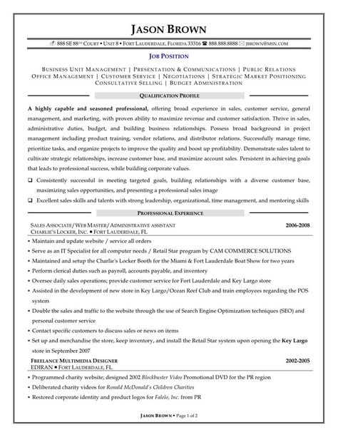 examples resumes resume template sales job sample templates - examples on resumes