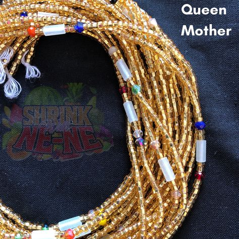 Waist beads have been worn since as early as the 15th century in Africa. They can be worn as multiple or single strand. Made from various materials glass, metal, crystals, bones and wooden beads. Waist beads can symbolize wealth, femininity, social class  spirituality. Shrink With Ne-Ne waist beads are custom handmade and hand picked directly from Ghana. What's included: This listing is for one (1) strand of beads. Each strand measures approximately 47 inches . One video instruction on how