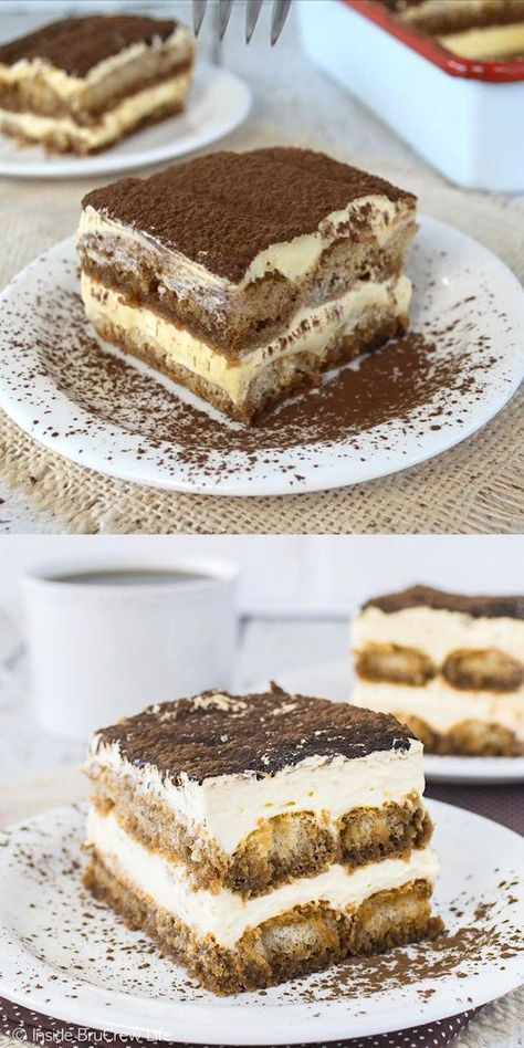 This Easy Tiramisu is a no bake dessert that will disappear in a hurry when you serve it. Layers of creamy cheesecake and coffee soaked cookies will have everyone asking for more. #chocolatecake
