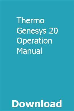 Thermo Genesys 20 Operation Manual | brasumlesum | Installation
