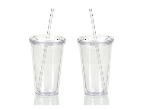 Double Wall Plastic Tumblers With Lids Straws 16oz Drinking Cups Mugs Double Wall Insulated Tumblers with Straw Lid