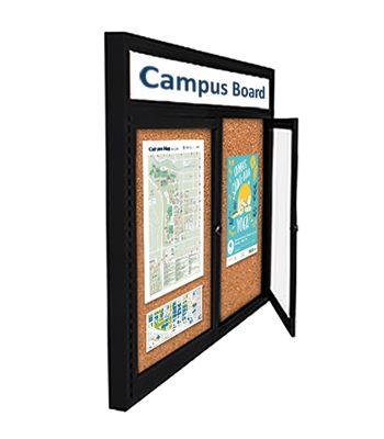 Personalized Message Header Printed Free Indoor 2 Deep Enclosed Bulletin Board With 2 Or 3 Locking Doors Send Us Y Metal Display Display Case Poster Display