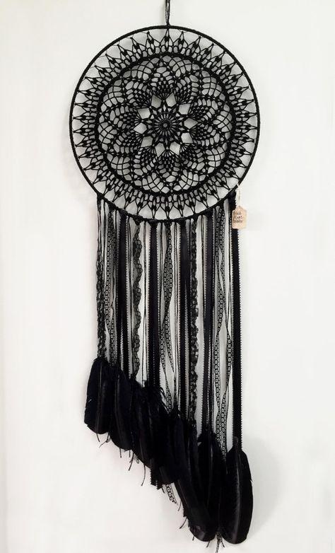 Black Magic BOHO Dreamcatcher Crochet Doily Lace Feathers