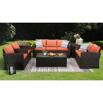 Latitude Run Brindille 6 Piece Rattan Sofa Seating Group With Cushions Cushion Color Orange Rattan Sofa Seating Groups Handsome Decor