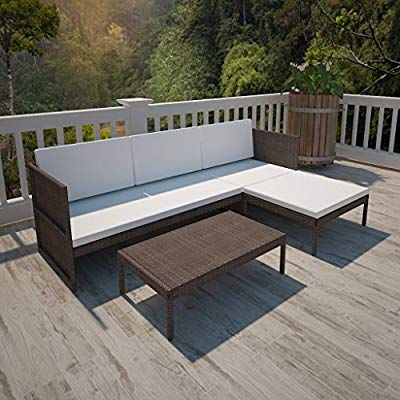 Anself Poly Rattan 3 Seater Sofa Lounge Set Coffee Table Outdoor