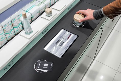 Customers can hold a tester over a terminal for more information – or to make a purchase