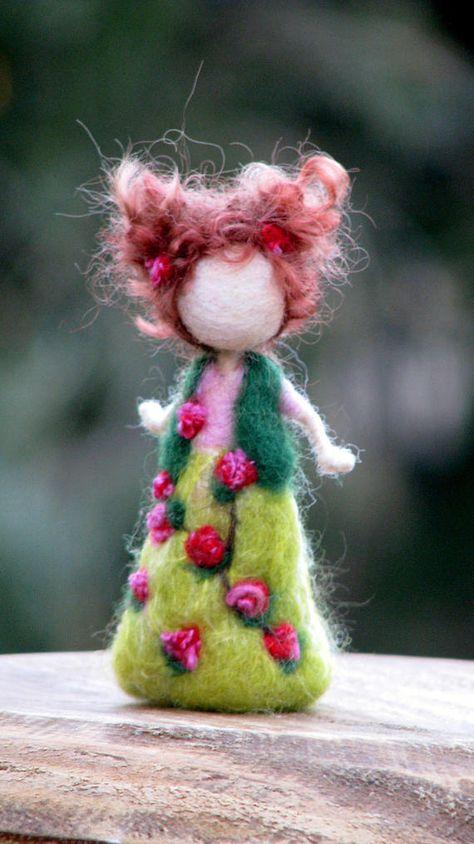 Ornament Waldorf inspired fairy doll Needle felted doll Spring doll Seasonal doll Felted doll Kids room decor Montessori Tall: 4 Design Zuzana Hochman