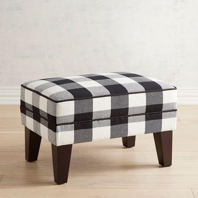Black and White Plaid Design 59 Buffalo Check Ottoman