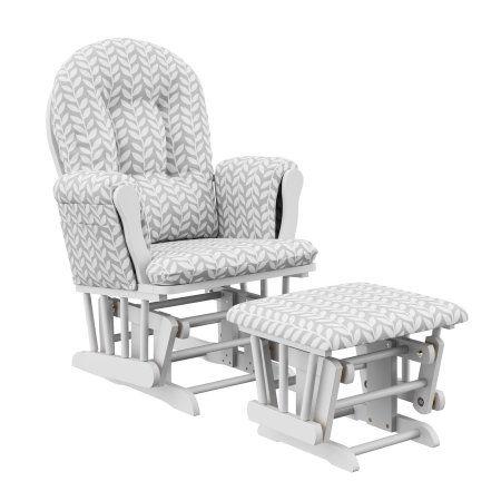 White//Gray Graco Sterling Semi-Upholstered Glider and Nursing Ottoman