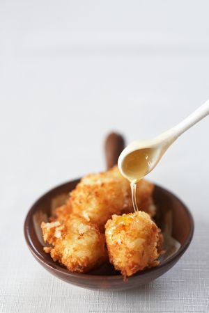 crispy risotto balls with truffle honey
