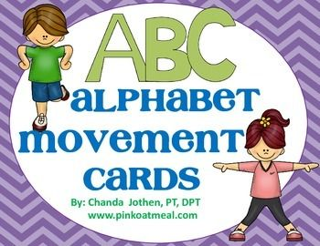 Alphabet Movement Cards The alphabet movement cards are a fabulous way to incorporate working on letters and movement at the same time.  Help increase the child's alertness and participation in learning with movement!  Posters with letters and corresponding action picture are perfect for bulletin boards!