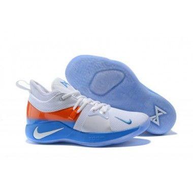 timeless design baf56 3846d Nike PG 2 Men's White/Light Blue and Orange   nike pg ...