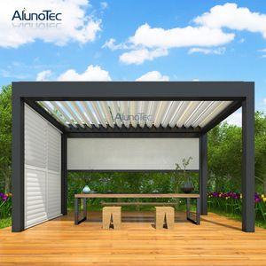 Source Motorized Outdoor Aluminium Gazebo Garden With Operable Louver Roof On M Alibaba Com Aluminum Pergola Aluminum Gazebo Garden Gazebo