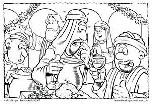 Coloring Page Of Jesus Turning Water Into Wine Search Sunday