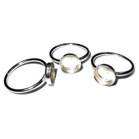 Round Setting with 1 Loop 925 Sterling Silver 4 mm Bezel Cup Findings for Pendants Charms Earrings 6 Pcs