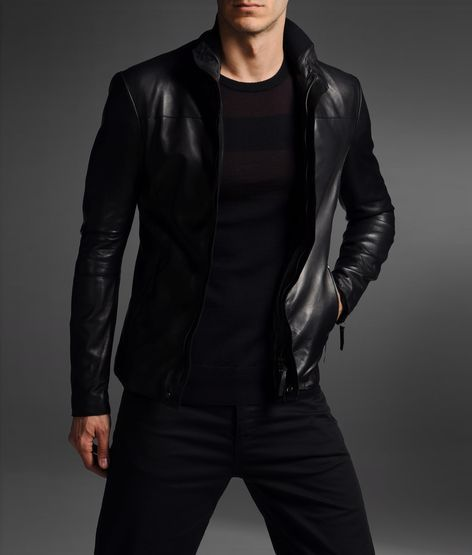 Emporio Armani leather jacket. Pairs best with more black.