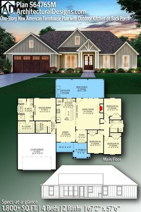 Plan 56476sm One Story New American Farmhouse Plan With Outdoor Kitchen On Back Porch Farmhouse Floor Plans Open House Plans New House Plans