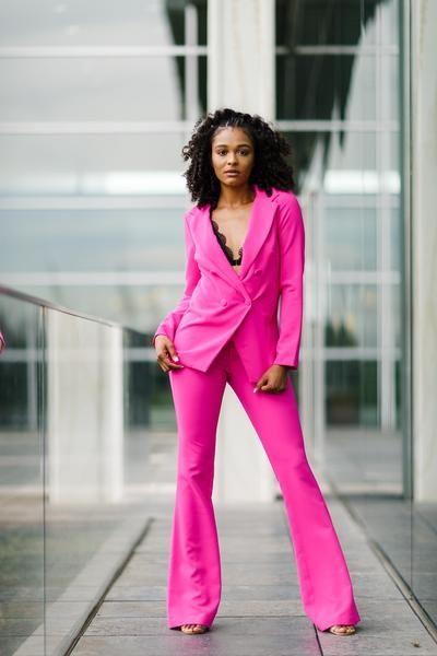 Hot Pink Pants Suit Womens