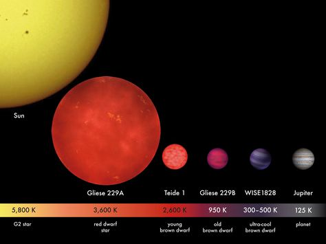 """Relative star sizes and photospheric temperatures. Any planet around a red dwarf, such as the one shown here, would have to huddle close to achieve Earth-like temperatures, probably inducing tidal lock. (Credit: MPIA/V. Joergens) Mona Evans, """"Do Red Dwarfs Live Forever?"""" http://www.bellaonline.com/articles/art184046.asp"""