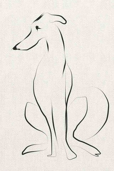 """From Sally Muir's """"A Dog a Day"""" collection, which features different canines created in a variety of styles. Even with only a few lines, Muir has an uncanny ability at capturing dogs, instantly marking their breed & breathing character into their forms."""