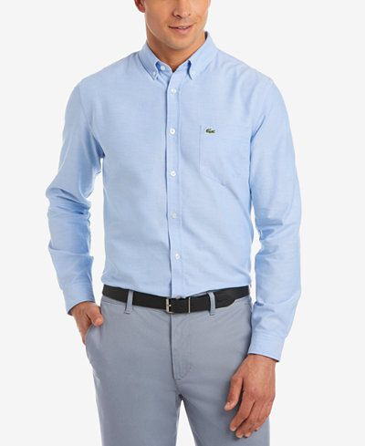 Lacoste Men S Regular Fit Long Sleeve Button Down Solid Oxford