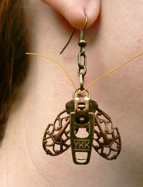 Steampunk Moth Zipper Earrings Dangle by PeteAndVeronicas on Etsy Zipper Bracelet, Zipper Jewelry, Bullet Jewelry, Moon Earrings, White Earrings, Pearl Earrings, Pendant Necklace, Brass Jewelry, Jewelery