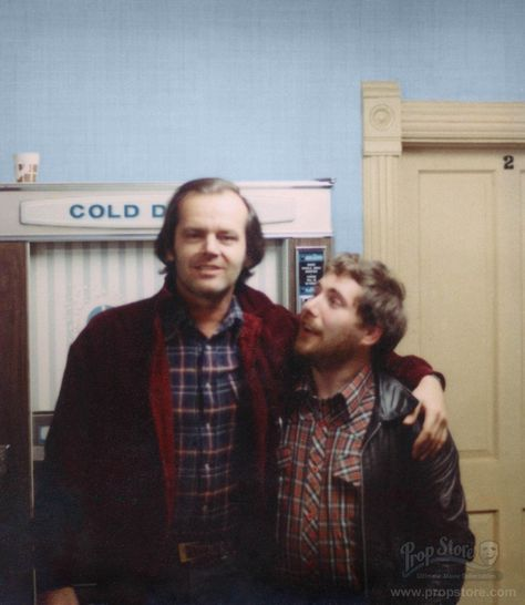 Never-before-published photo of actor Jack Nicholson and Grip Dennis Lewis on the Staff Wing set of The Shining.  (photo courtesyProp Store)