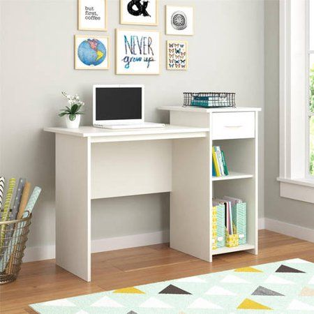 Mainstays Student Desk With Easy Glide Drawer White Finish Walmart Com Bedroom Desk Desk With Drawers Home Office Bedroom