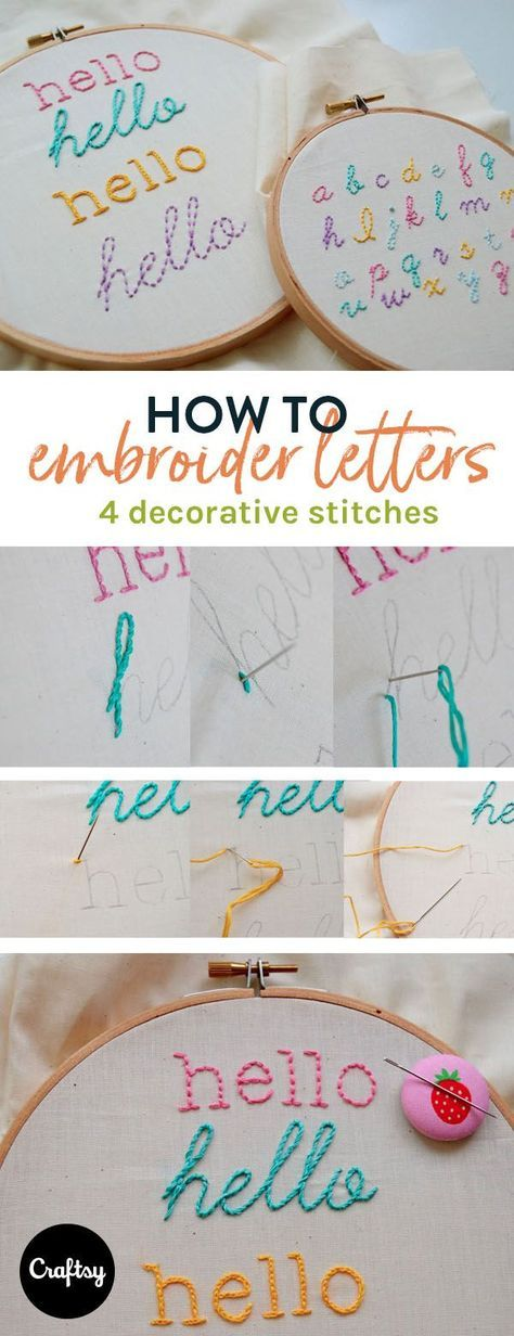 your hand embroidery speak for you! Learn how to stitch letters in four decorative ways.Let your hand embroidery speak for you! Learn how to stitch letters in four decorative ways. Hand Embroidery Stitches, Crewel Embroidery, Hand Embroidery Designs, Embroidery Techniques, Ribbon Embroidery, Cross Stitch Embroidery, Embroidery Ideas, Knitting Stitches, Hand Stitching