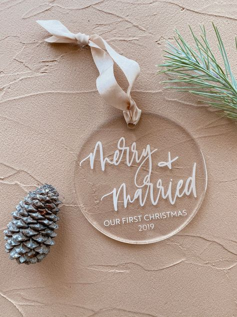 """2019 Acrylic Calligraphy """"merry + married"""" Ornament - Our First Christmas First Christmas Ornament, Christmas Baubles, Prim Christmas, Father Christmas, Christmas 2019, First Christmas Married, Christmas Crafts, Christmas Decorations, Christmas Accessories"""