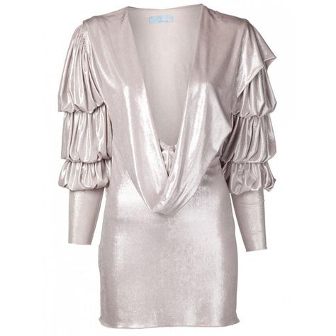 Julia Clancey Silver Grace Dress (£255) ❤ liked on Polyvore featuring dresses, short slip, short long dresses, long slip, pink slip dress and hooded dress