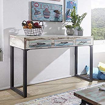 Finebuy Konsolentisch Pintu Massivholz 130x79x40 Cm Schreibtisch Shabby Chic Design Schminktisch Mit Schu Konsolentisch Konsolen Tisch Schmaler Konsolentisch