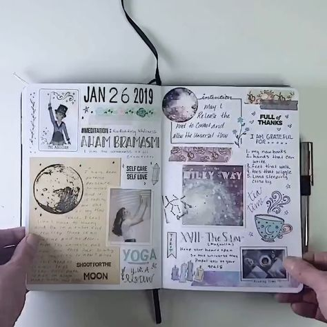 Here is a look at me January 2019 magic morning Bullet Journal. I love texture so I use tons of washi, stickers, paper, stamps, and more in my notebooks.