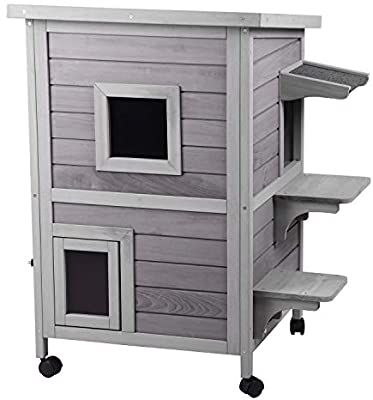 Aivituvin 2 Story Outdoor Cat House Indoor Wooden Kitty Condo With Escape Door 4 Casters Included Cat Houses Indoor Outdoor Cat House Cat Condo