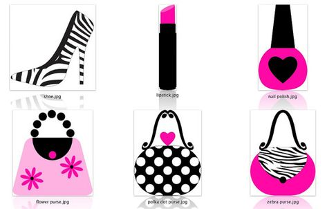 Girly Diva Clipart Graphic Design Hot Pink Zebra Print Makeup