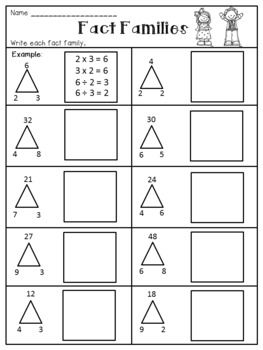 Multiplication And Division Fact Families Worksheets Division