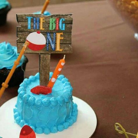 Pleasing Double Sided Gone Fishing Birthday Cake Topper Smash Cake Funny Birthday Cards Online Eattedamsfinfo