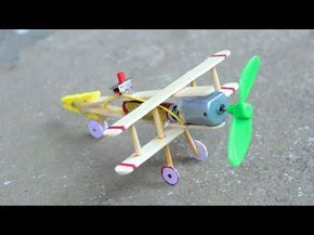 How to make Aeroplane with DC motor - [ wooden plane