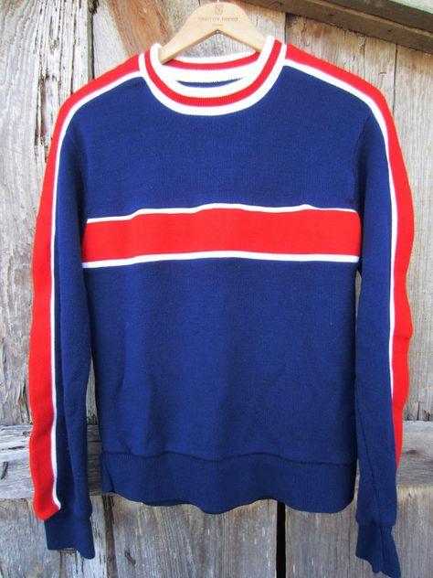 70s Striped Ski Sweater, Men's S-M Women's M-L // Navy Blue Knit Holiday Sweater // Vintage Winter Jumper